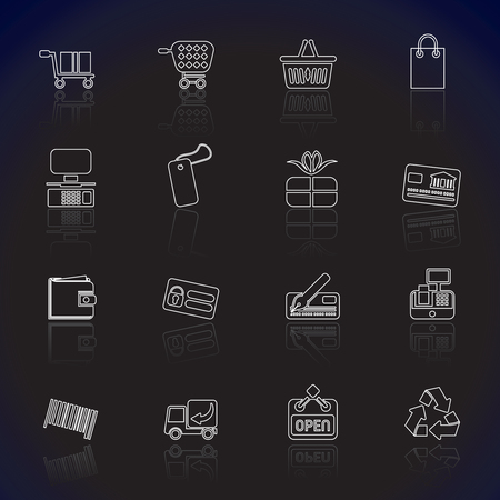 Simple Online Shop icons - Vector Icon Set  Vector