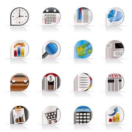 Business and Office Realistic Internet Icons - Vector Icon Set 3 Vector