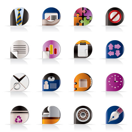 Realistic Business and Office Icons - vector icon set Stock Vector - 5333300