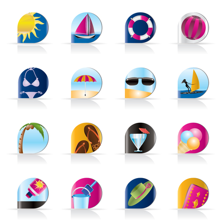 Realistic Summer and Holiday Icons - Vector Icon Set Stock Vector - 5377160