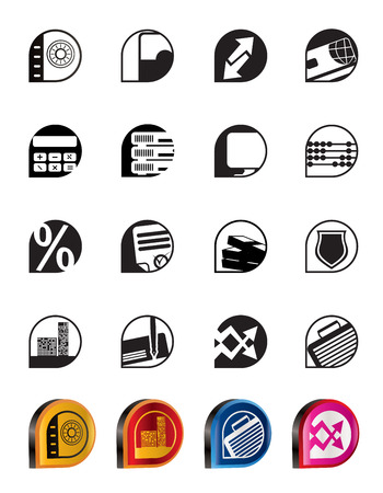 Simple bank, business, finance and office icons - vector icon set Vector