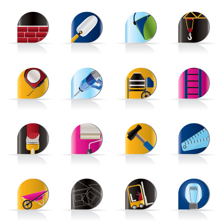 stepladder: Construction and Building icons - Vector Icon Set Illustration