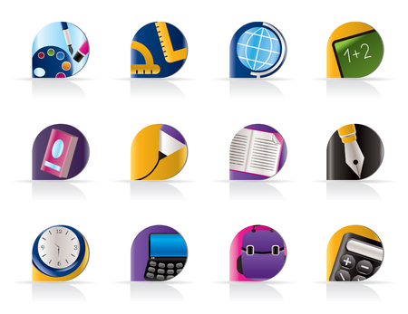 School and education icons - vector icon set Stock Vector - 5408872