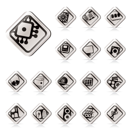 Simple Computer  performance and equipment icons - vector icon set Stock Vector - 5546197