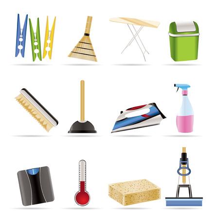sanificazione: Casa oggetti e strumenti di icone - vector icon set Vettoriali