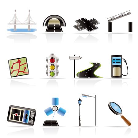 web design bridge: Road, navigation and travel icons - vector icon set