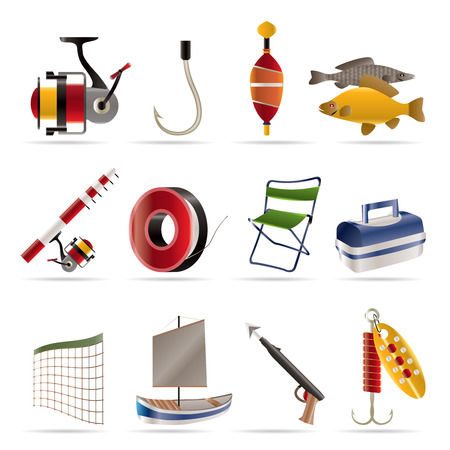 rod sign: Fishing and holiday icons - vector icon set Illustration