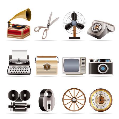 Retro business Bureau objet icônes et - vecteur icône ensemble