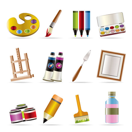 painter, drawing and painting icons -  vector icon set Stock Vector - 5546202