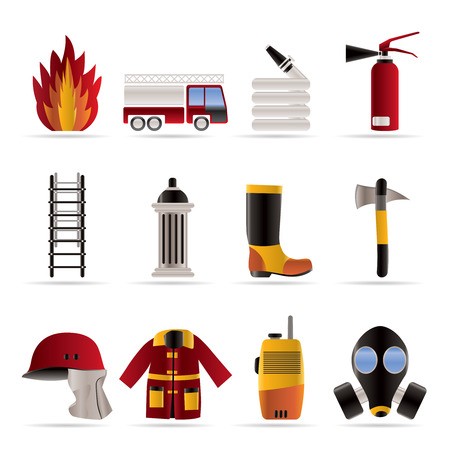 voiture de pompiers: ic�ne de mat�riel en pompiers et pompier - vecteur ic�ne ensemble