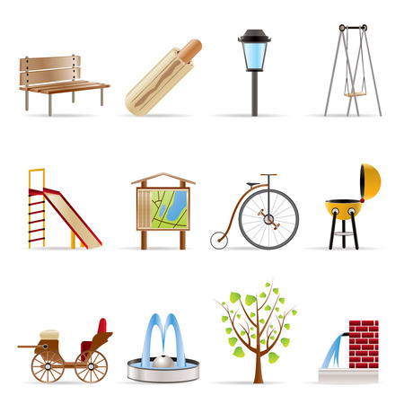 Park objects and signs icon - vector icon set Stock Vector - 5585338