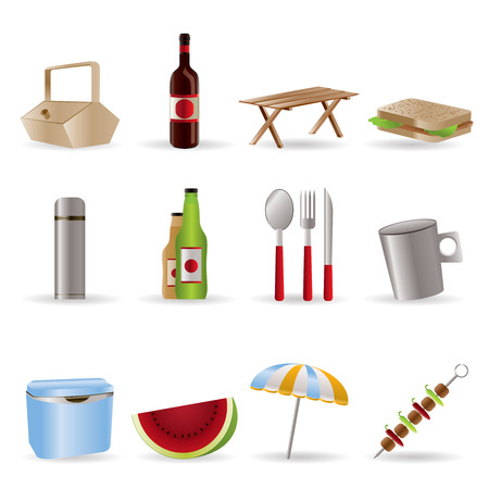respite: Picnic and holiday icons - vector icon set Illustration