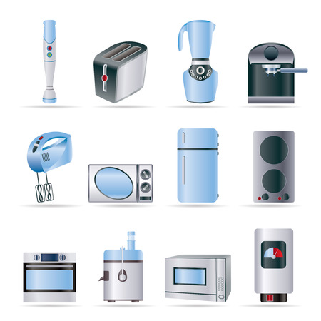 Iconos de equipos de cocina y hogar - conjunto de icono de vector Ilustración de vector
