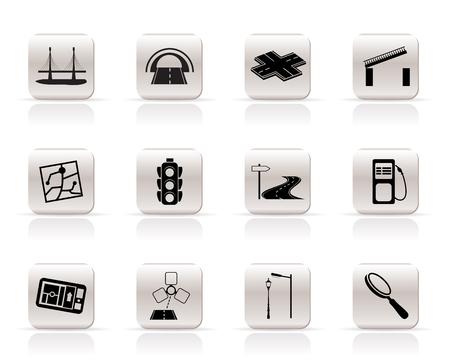 web design bridge: Simple Road, navigation and travel icons - vector icon set Illustration