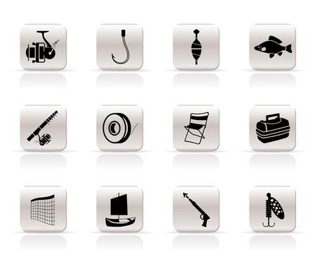 canna pesca: Semplici icone di pesca e vacanze - vector icon set