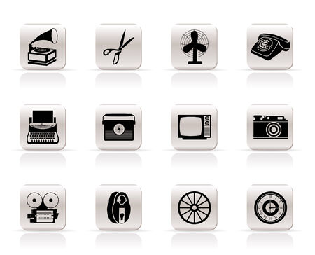 Simple Retro business and office object icons - vector icon set Vector