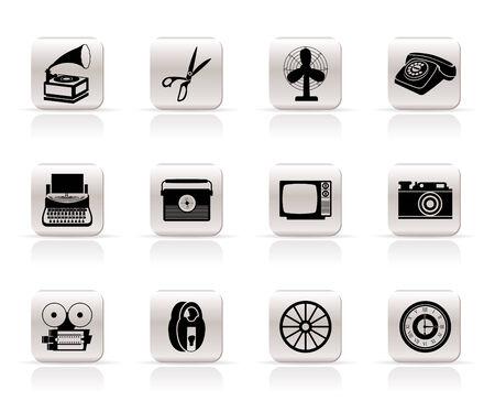clock radio: Simple Retro negocios y los iconos de la Oficina de Objetos - icono de vectores se