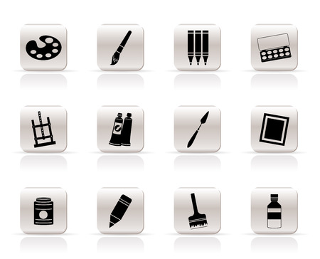 Simple painter, drawing and painting icons -  vector icon set Stock Vector - 5585330