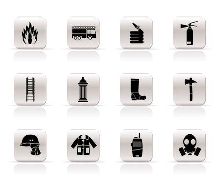 Einfache Feuerwehr Heizer Ausrüstung Symbol und -Vektor-Symbol-set