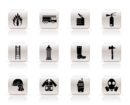 Simple fire-brigade and fireman equipment icon - vector icon set Stock Vector - 5585332