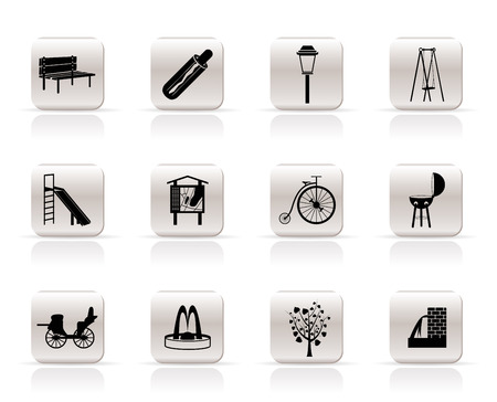 water slide: Park objects and signs icon - vector icon set Illustration