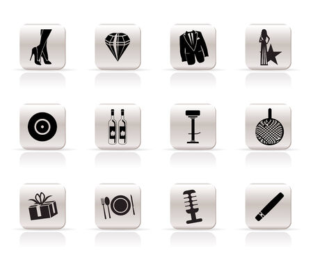 tailcoat: Simple Luxury party and reception icons - vector icon set Illustration