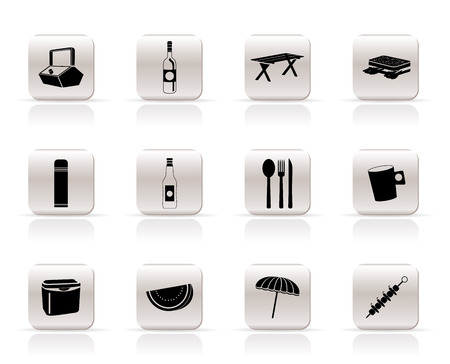 bread basket: Simple Picnic and holiday icons - vector icon set Illustration