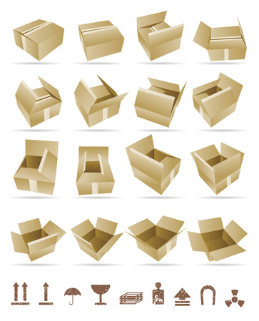 Illustration of shipping box and Box Icon and Signs Vector