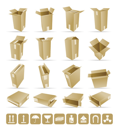 box weight: Illustration of shipping box and Box Icon and Signs Illustration