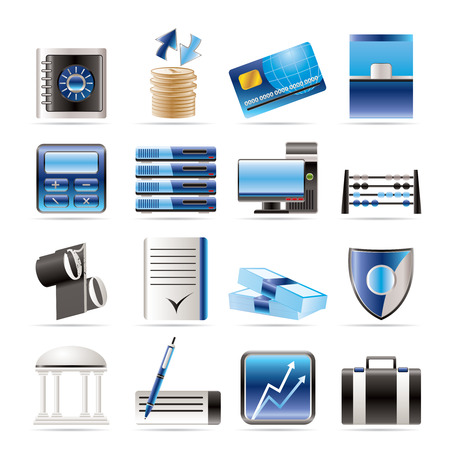 rates: bank, business, finance and office icons icon set