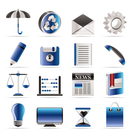 Zakelijke en pictogrammen van Office internet - vector pictogram set