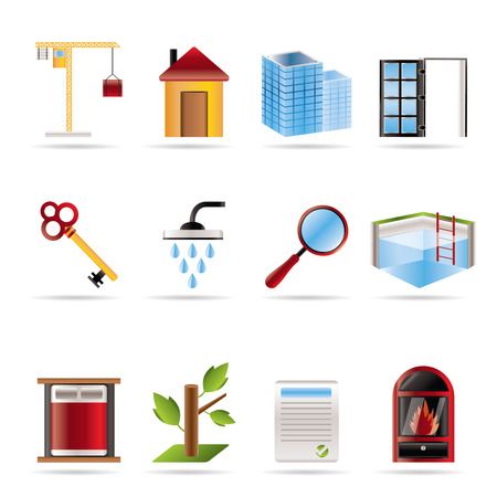Realistic Real Estate icons - Vector Icon Set Stock Vector - 5735773