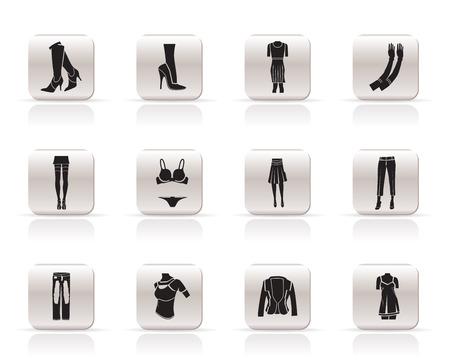 Frau und weibliche Kleidung einfache Symbole - Vektor-Icon-set