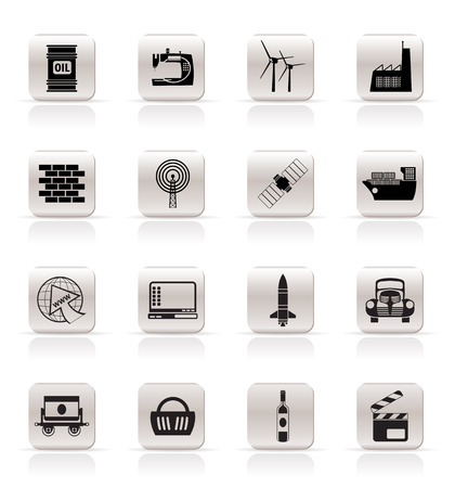 mine site: Simple Business and industry icons- vector icon set Illustration