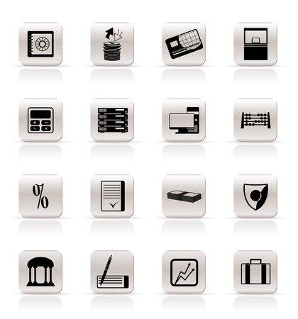 Simple bank, business, finance and office icons vector icon set Vector