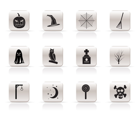 Simple halloween icon pack  with bat, pumpkin, witch, ghost, hat - vector icon set Vector