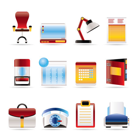 Realistic Business, office and firm icons - vector icon set Stock Vector - 5811896