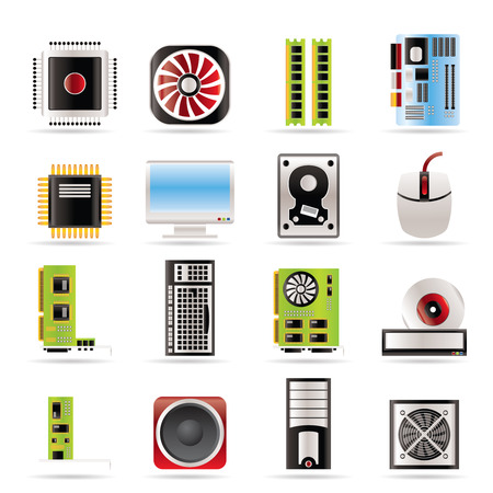 Computer  performance and equipment icons - vector icon set Vector