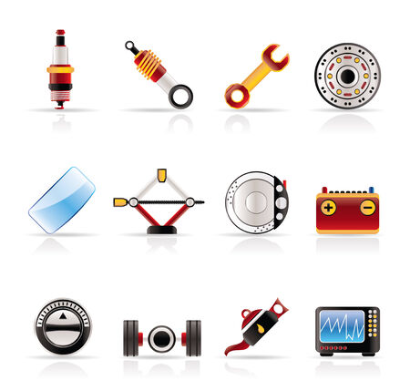 shock absorber: Realistic Car Parts and Services icons - Vector Icon Set 1