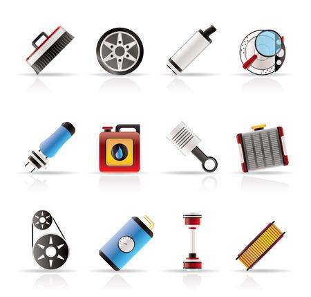 piezas coche: Piezas de coches realistas y de Servicios de iconos - Vector Icon Set 2 Vectores