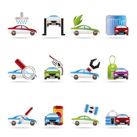 car and automobile service icon - vector icon set Vector