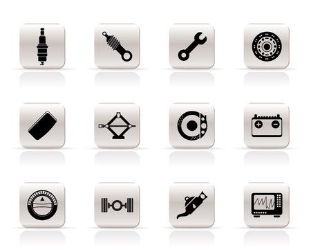 repuestos de carros: Iconos Car Parts y servicios realistas - Vector Icon Set 1