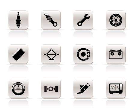 sparking plug: Realistic Car Parts and Services icons - Vector Icon Set 1