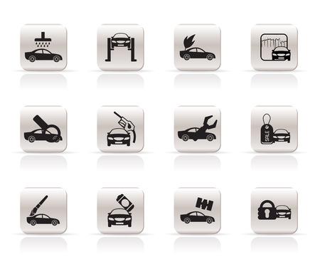 overhaul: auto e icona di servizio automobilistico - vector icon set