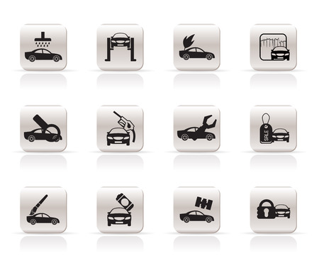 car and automobile service icon - vector icon set Stock Vector - 5852567