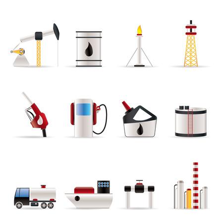 нефтяной: Нефть и бензин промышленности иконы - вектор икона набор Иллюстрация
