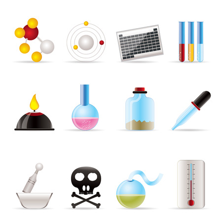Chemistry industry icons - vector icon set Vector