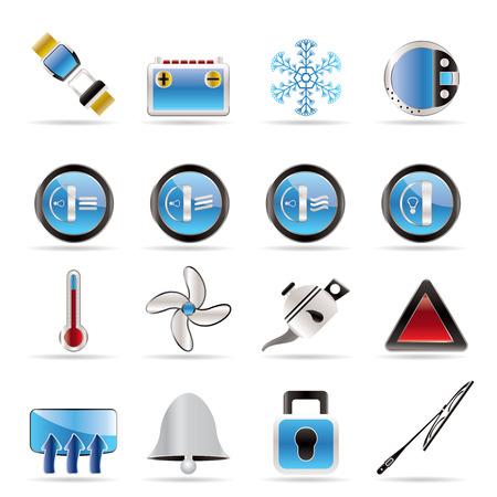 baterii: Samochód Dashboard - zestaw ikon realistyczne wektorowe Ilustracja