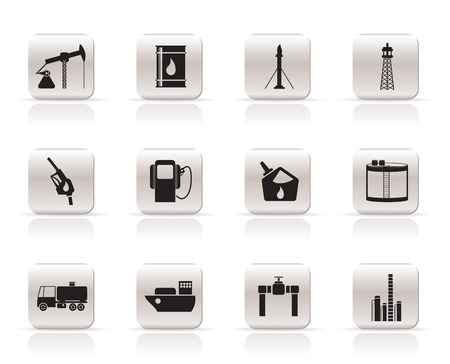 oil refinery: Oil and petrol industry icons - vector icon set