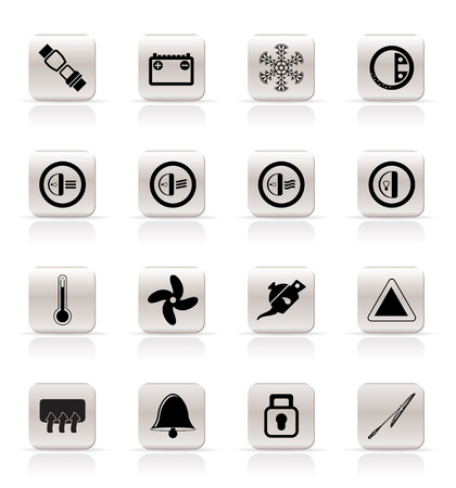 headlights: Car Dashboard icons -  vector icons set Illustration